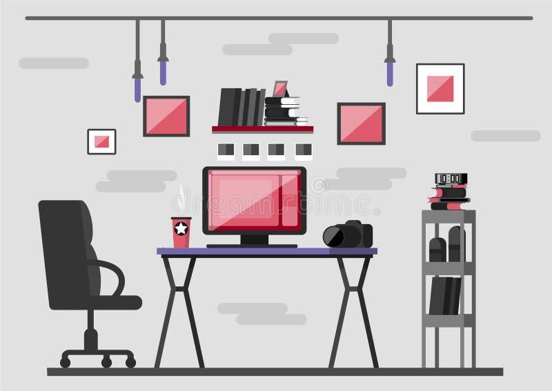 arbetsplats av fotografen utrustningfoto skrivbord royaltyfri illustrationer