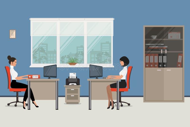 Arbetsplats av kontorsarbetare unga kvinnor royaltyfri illustrationer