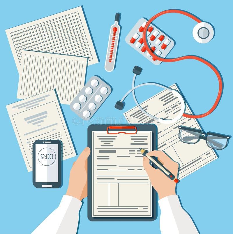 arbetsplats för doktor s Medicinsk doktor Working i klinik vektor illustrationer