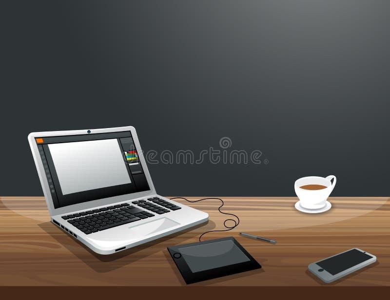 Arbetsplats för grafisk formgivare för Freelancer stock illustrationer