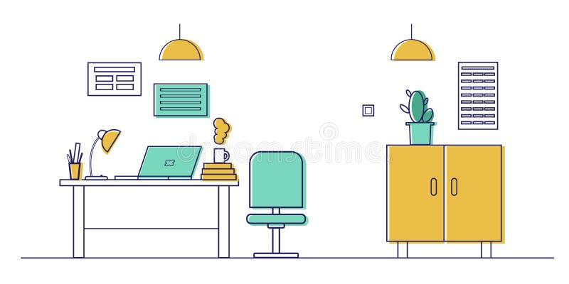 Arbetsplats i kontoret   stock illustrationer