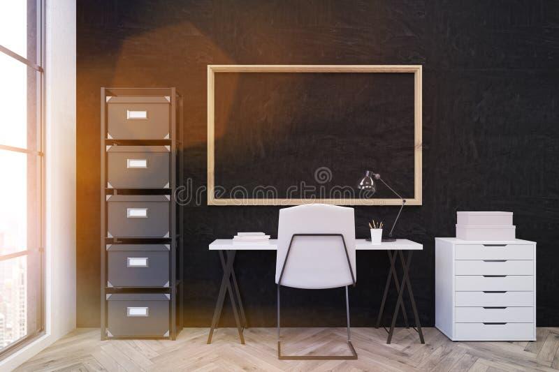 Arbetsplats i modern kontorsmiljö stock illustrationer