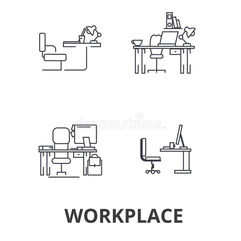 Arbetsplats kontor, arbete, affär, skrivbord, företags inre, industriell linje symboler Redigerbara slaglängder Plan designvektor vektor illustrationer