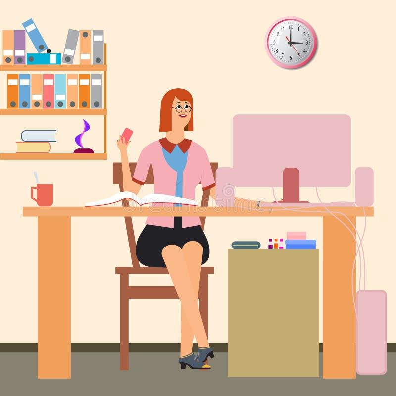 arbetsplats Kvinnablickar på datorskärmen stock illustrationer