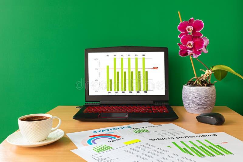 Arbetsplats med bärbar datorkopp kafferapporter och grafer - affärsgrafer och diagram royaltyfri foto