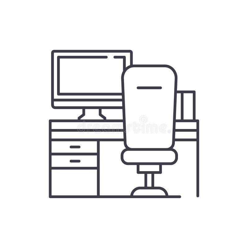 Arbetsplats med dator- och stollinjen symbolsbegrepp Arbetsplats med den linjära illustrationen för dator- och stolvektor vektor illustrationer