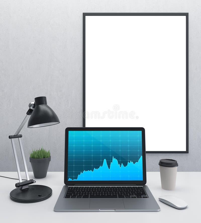 Arbetsplats med en dator stock illustrationer