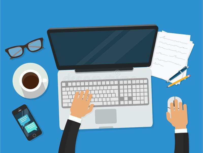 Arbetsplats med personen som arbetar på den hållande ögonen på videospelaren för bärbar dator, begrepp av webinar, affärsonline-u stock illustrationer