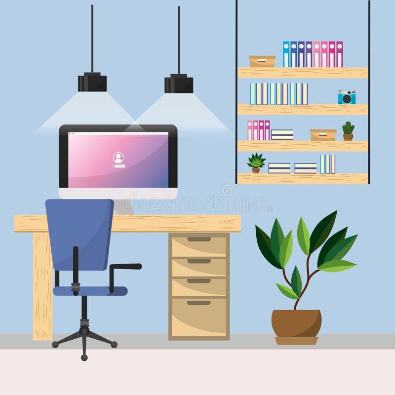 Arbetsplats- och kontorsdesign vektor illustrationer