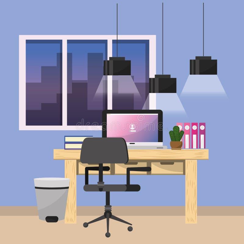 Arbetsplats- och kontorsdesign stock illustrationer