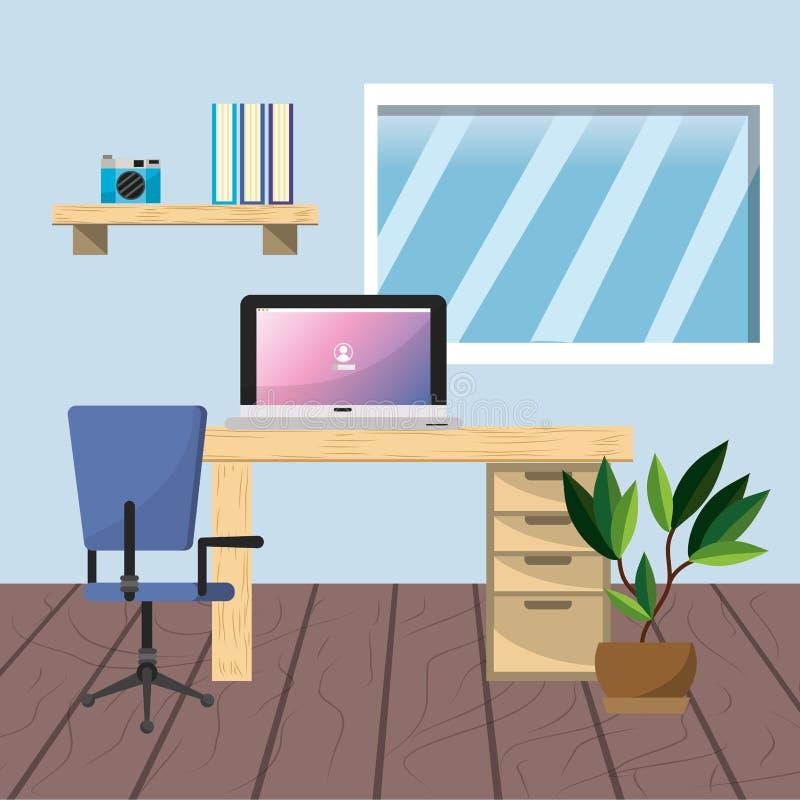 Arbetsplats- och kontorsdesign royaltyfri illustrationer