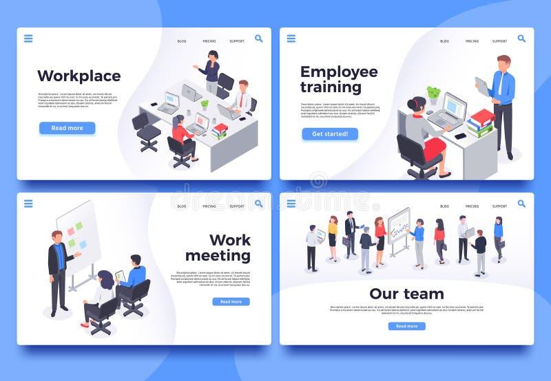 Arbetsplats som landar sidan Kontorsarbetare, kläckning av ideermöte och uppsättning för illustration för affärslagvektor stock illustrationer