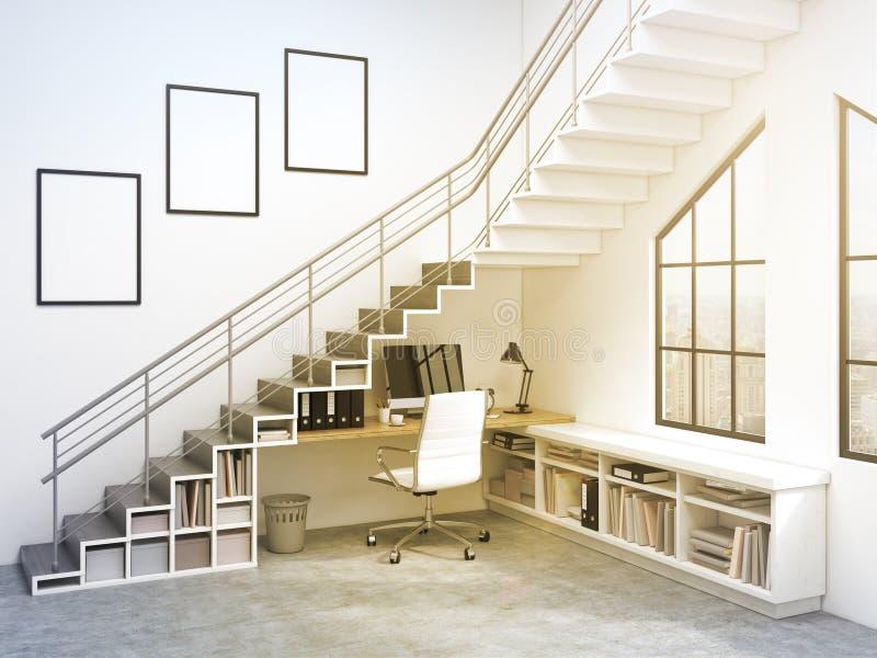 Arbetsplats under trappan vektor illustrationer