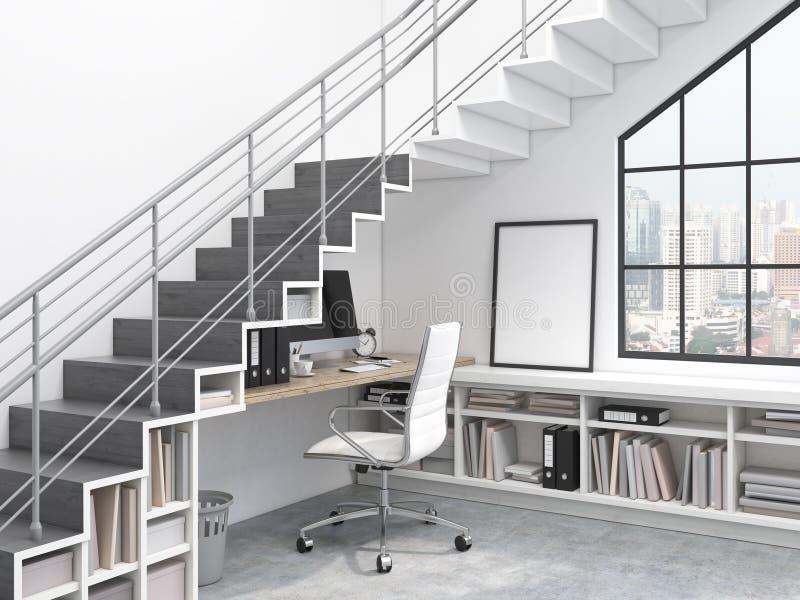 Arbetsplats under trappan stock illustrationer