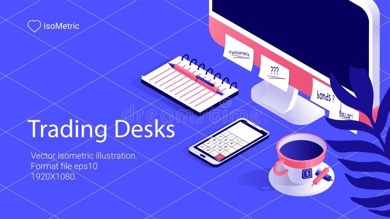 Arbetsplatsaffärsmanillustration, arbetsskrivbordbaner, isometrisk illustration stock illustrationer