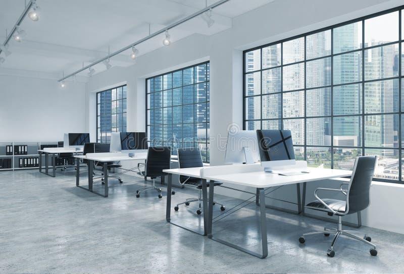 Arbetsplatser i ett ljust modernt vindöppet utrymmekontor Tabeller utrustas med moderna datorer; bokhyllor Panorama- Singapore royaltyfri illustrationer