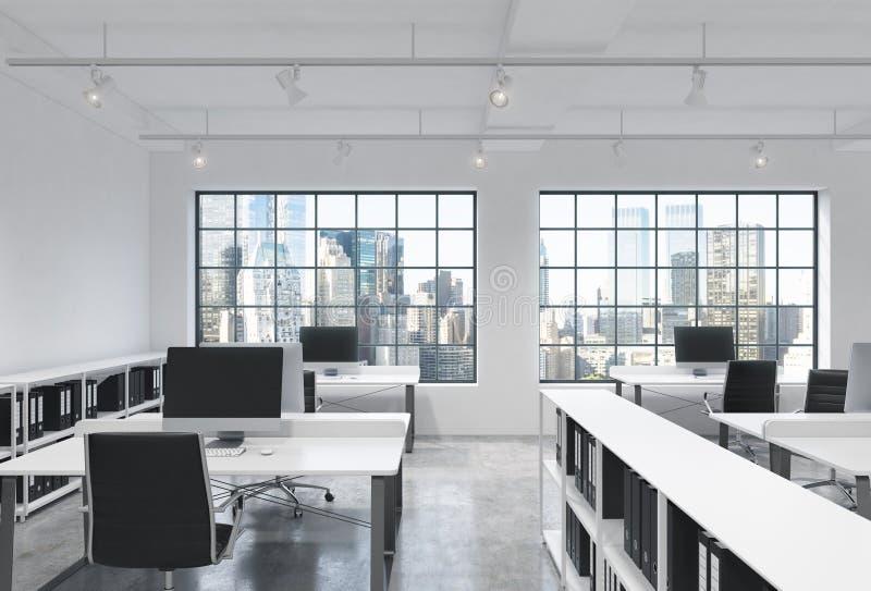 Arbetsplatser i ett ljust modernt vindöppet utrymmekontor Tabeller utrustas med moderna datorer; företags dokuments hyllor nytt stock illustrationer