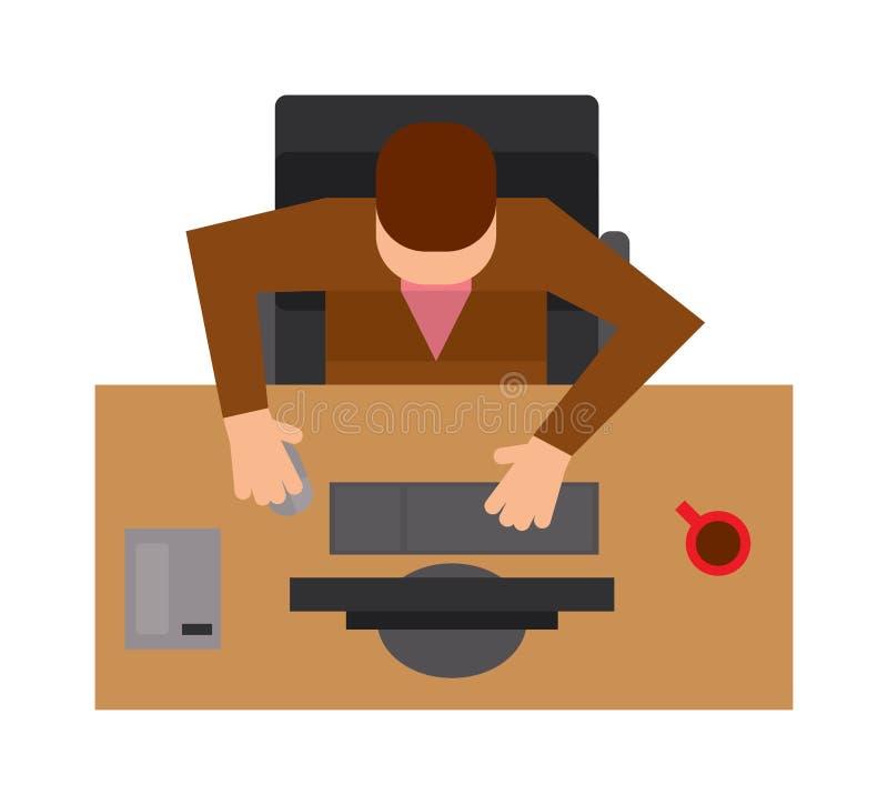 Arbetsplatskontor med illustrationen för vektor för lägenhet för bästa sikt för man royaltyfri illustrationer