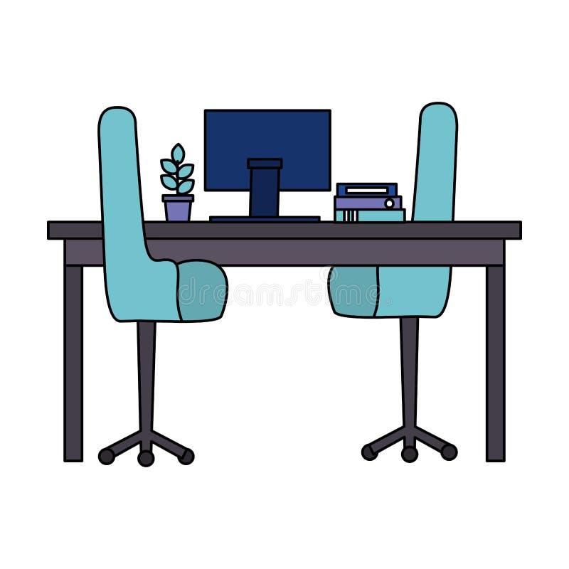 Arbetsplatskontoret presiderar den inlagda v?xten f?r skrivborddatoren vektor illustrationer