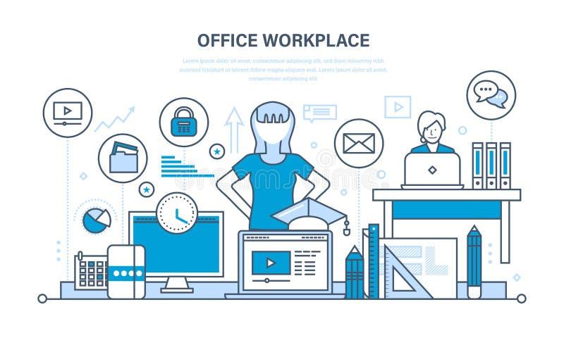 Arbetsplatsorganisation och workflow, hjälpmedel för jobbet, planlagd för uppgift vektor illustrationer