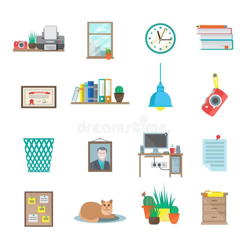 Arbetsplatssymbolsuppsättning stock illustrationer