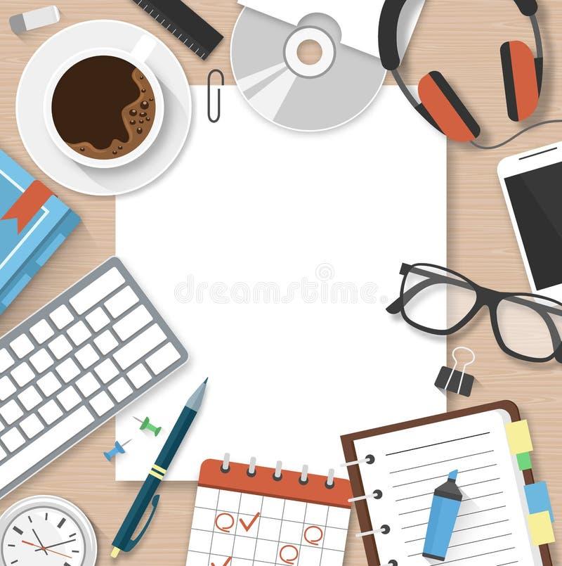 ArbetsplatsWorkspacebegrepp med chefen Table för kontorstillförsel stock illustrationer