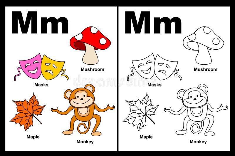arbetssedel för bokstav M vektor illustrationer