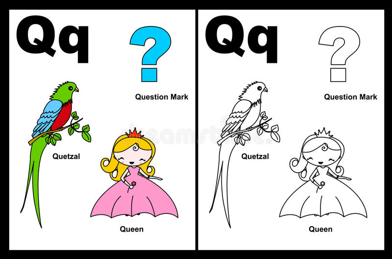 arbetssedel för bokstav q vektor illustrationer