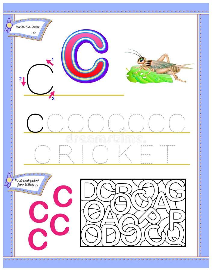Arbetssedel för ungar med bokstav C för engelskt alfabet för studie Logikpussellek Framkallande barnexpertis för att skriva och a stock illustrationer