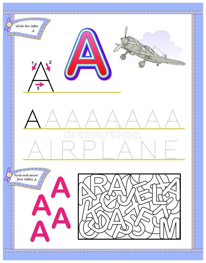 Arbetssedel för ungar med bokstav A för engelskt alfabet för studie Logikpussellek Framkallande barnexpertis för att skriva och a vektor illustrationer