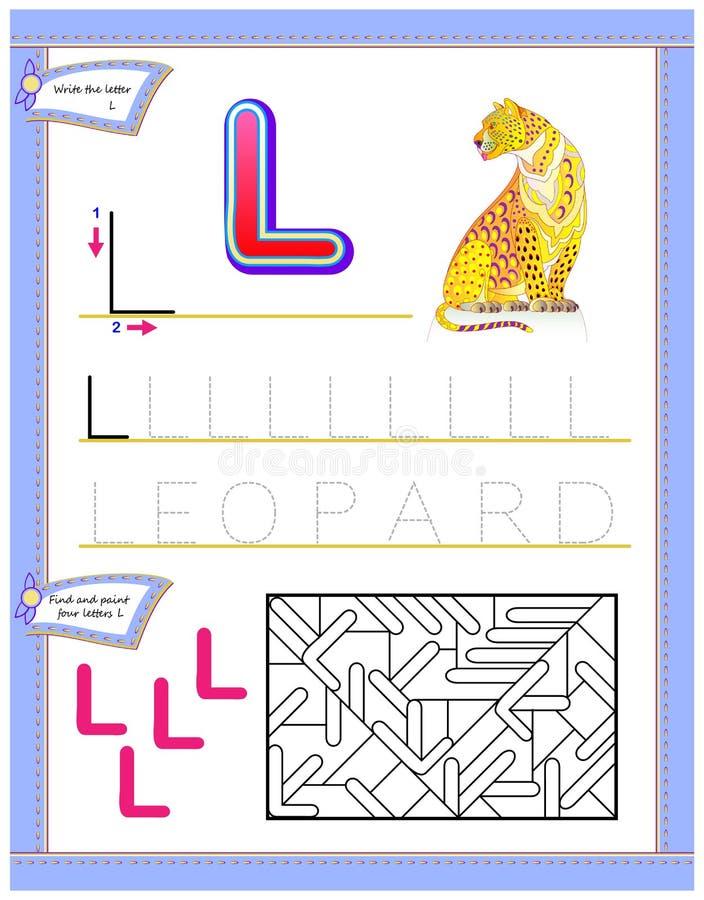 Arbetssedel för ungar med bokstav L för engelskt alfabet för studie Logikpussellek Framkallande barnexpertis för att skriva och a stock illustrationer