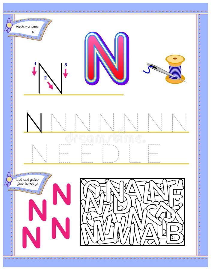 Arbetssedel för ungar med bokstav N för engelskt alfabet för studie Logikpussellek Framkallande barnexpertis för att skriva och a royaltyfri illustrationer