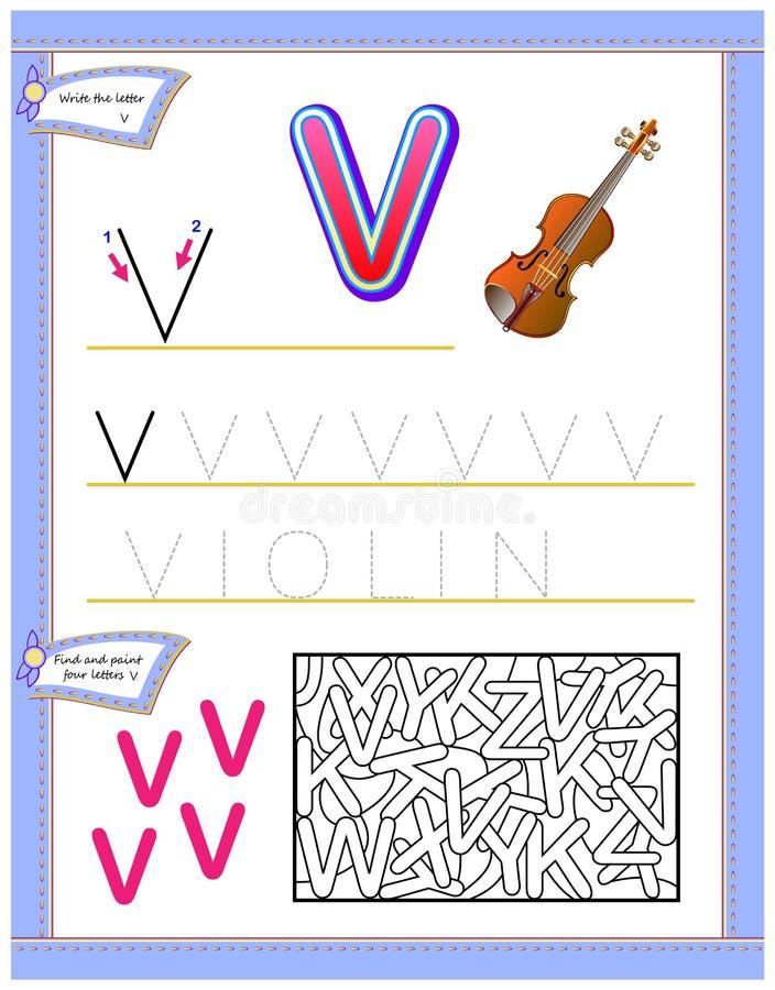 Arbetssedel för ungar med bokstav V för engelskt alfabet för studie Logikpussellek Framkallande barnexpertis för att skriva och a stock illustrationer