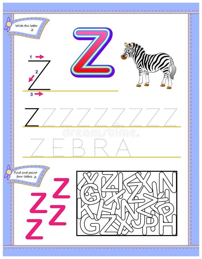 Arbetssedel för ungar med bokstav Z för engelskt alfabet för studie Logikpussellek Framkallande barnexpertis för att skriva och a royaltyfri illustrationer