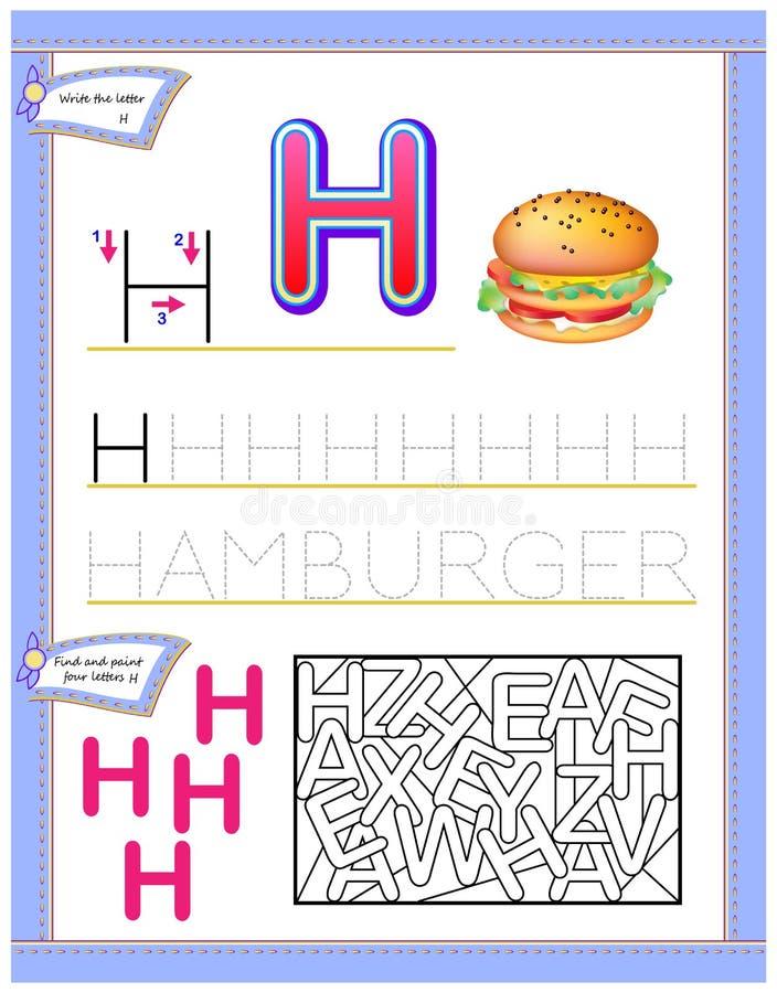 Arbetssedel för ungar med bokstavsH för engelskt alfabet för studie Logikpussellek Framkallande barnexpertis för att skriva och a vektor illustrationer
