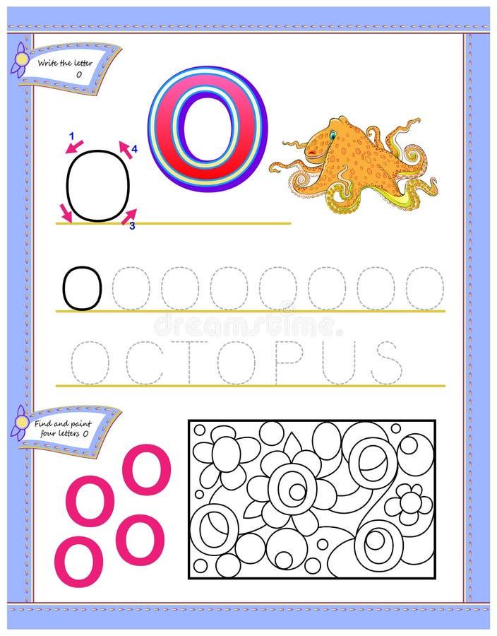 Arbetssedel för ungar med bokstavsnollan för engelskt alfabet för studie Logikpussellek Framkallande barnexpertis för att skriva  royaltyfri illustrationer