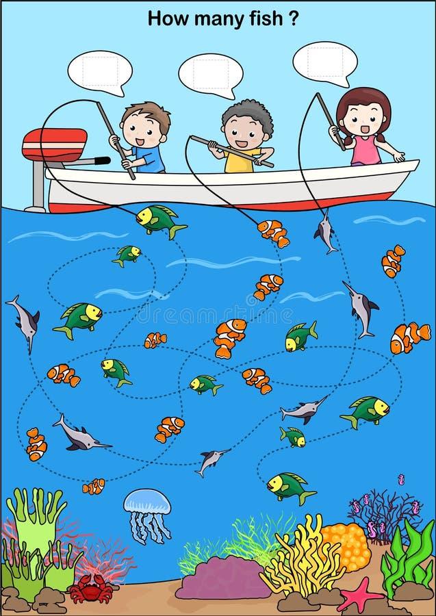 Arbetssedel för utbildning - räkna fisken stock illustrationer