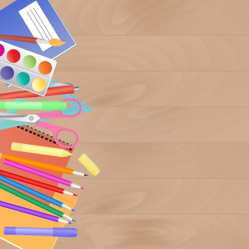 Arbetsskrivbord med skolatillförsel Ställ in för kreativitet för barn` s vektor illustrationer