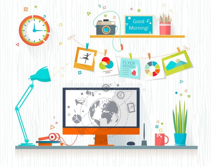 Arbetsställe av formgivare-illustratören stock illustrationer