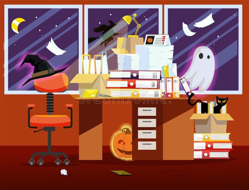 Arbetsställe på ferieallhelgonaafton i orange färg Plan illustration av kontorsruminre med pumpa, glödande spöke, även katt stock illustrationer