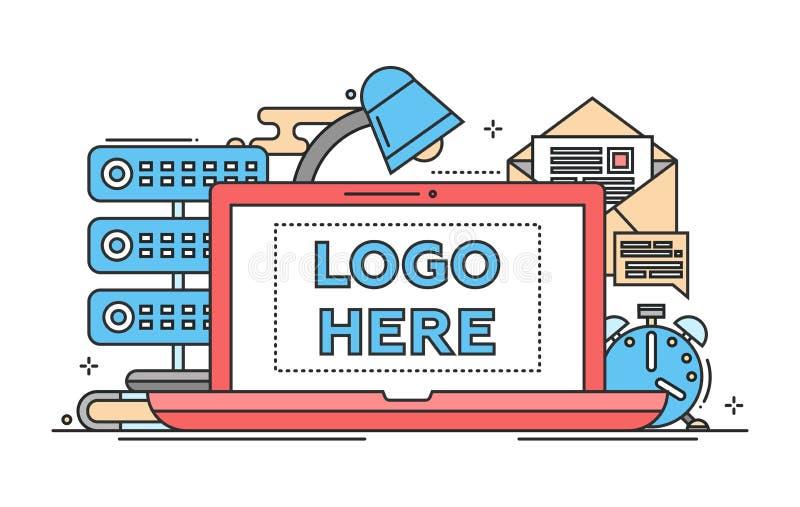 Arbetsställe - plan designillustration med copyspace för logo royaltyfri illustrationer