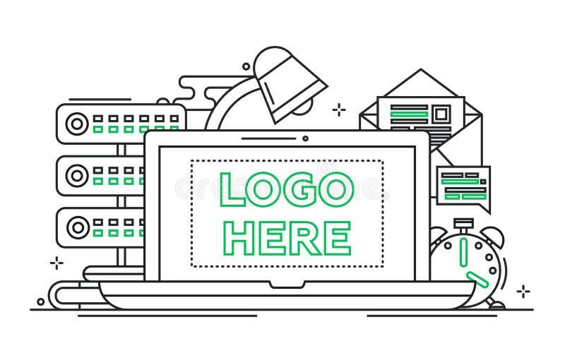 Arbetsstället - fodra designillustrationen med copyspace för logo vektor illustrationer