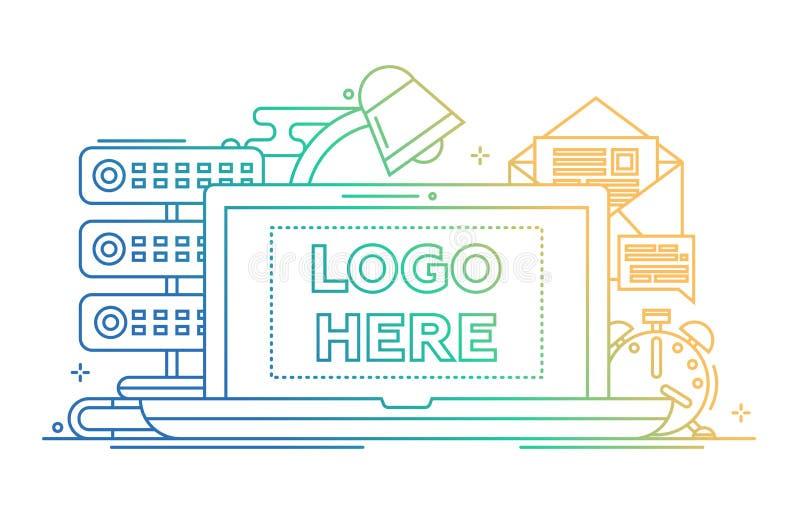 Arbetsstället - fodra designillustrationen med copyspace för logo stock illustrationer