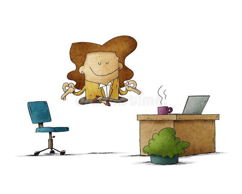 Arbetstagarkvinnan flyter på sitt kontor samtidigt som hon slappnar av isolerad arkivfoton