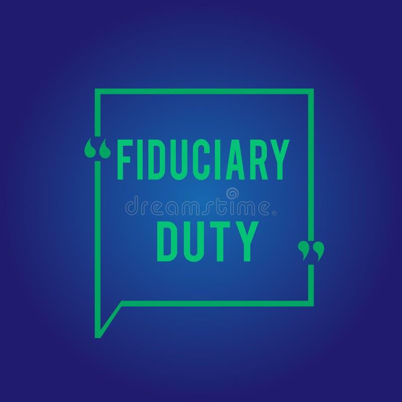 Arbetsuppgift för Fiduciary för ordhandstiltext Affärsidé för att lagligt åtagande för A ska agera i största vikt av annan stock illustrationer