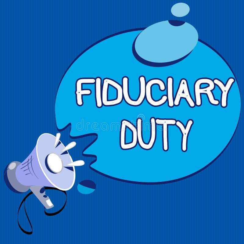 Arbetsuppgift för Fiduciary för textteckenvisning Begreppsmässigt lagligt åtagande för foto A att agera i största vikt av annan stock illustrationer
