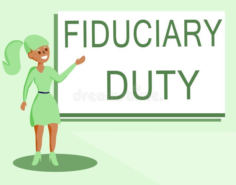 Arbetsuppgift för Fiduciary för textteckenvisning Begreppsmässigt lagligt åtagande för foto A att agera i största vikt av annan vektor illustrationer