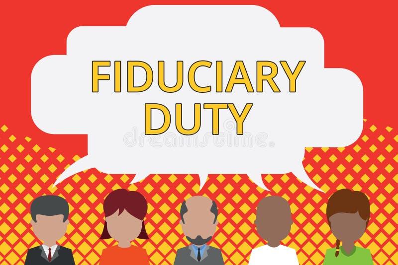 Arbetsuppgift f?r Fiduciary f?r ordhandstiltext Affärsidé för att ett lagligt åtagande ska agera i största vikt av andra fem royaltyfri illustrationer