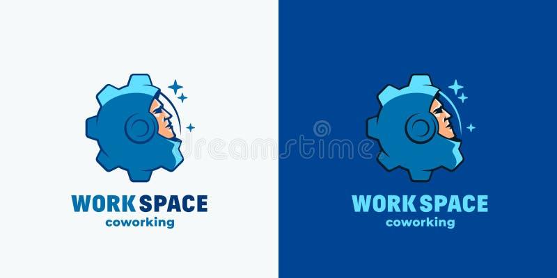 Arbetsutrymme Coworking Abstrakt vektortecken, emblem, symbol eller Logo Template Framsida för hjälm för utrymmedräkt som kombine royaltyfri illustrationer
