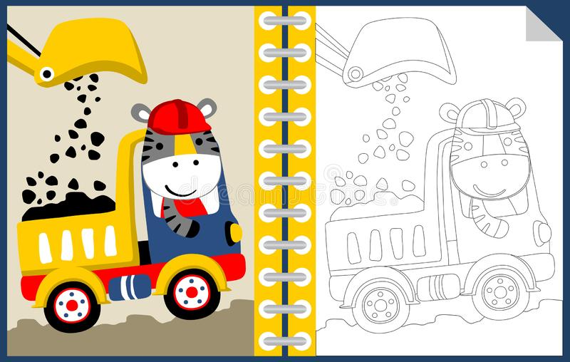 Arbetszon med den roliga arbetartecknade filmen, färgläggningboken eller sidan vektor illustrationer